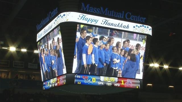 Thunderbirds game: Menorah lighting and fire safety demo