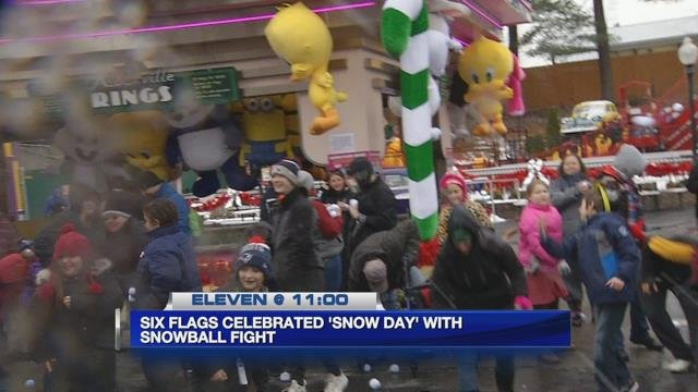 Snowball fight at Six Flags for 'Snow Day'