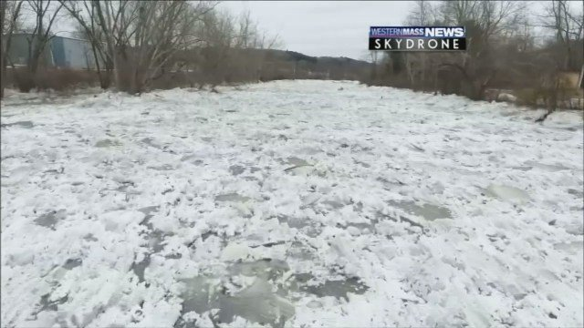 SkyDrone video of Athol ice jam