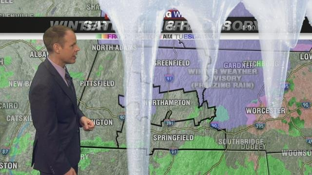 Showers with icy spots this morning