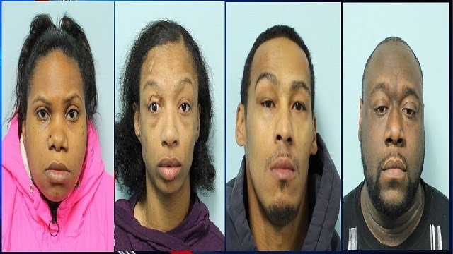Pictured from Left to Right: Latoya Smith, Latasha Downie, Andres Canelario, Anthony Green (Image Courtesy:Springfield PD)