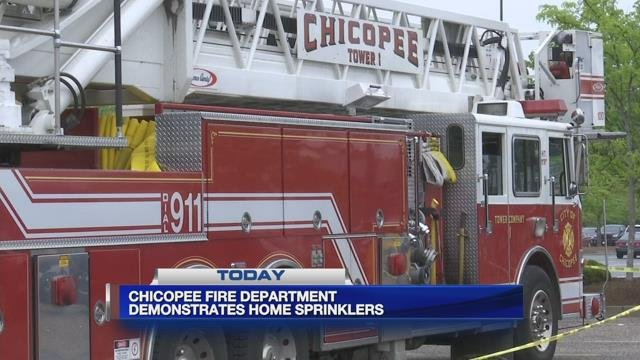 Chicopee fire department holds demonstration for home fire sprinklers