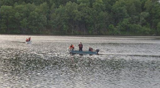 Crews were seen on the Chicopee River on Sunday (Western Mass News photo)