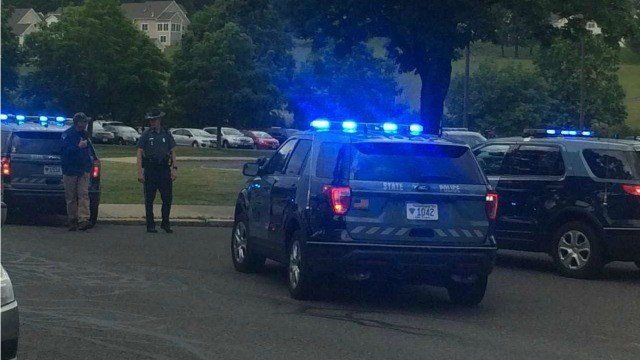 State Police were seen at JFK Middle School in Northampton on Thurs. Jun 7, 2018 (Western Mass News photo)