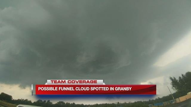 Possible funnel cloud reported in Granby