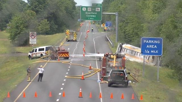 Tanker crash closes both sides of I-91 in Whately