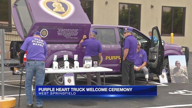 West Springfield welcomes purple heart truck
