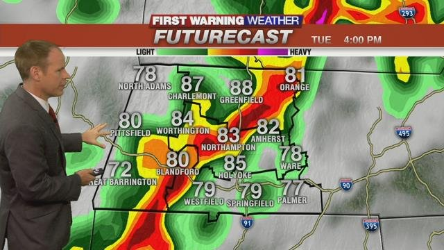 Heavy rain and storms this afternoon