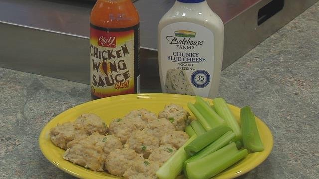 Buffalo chicken meatballs offer a great, high protein snack