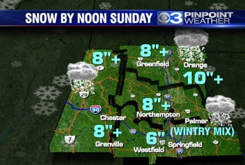 Snow forecast by meteorologist Nick Morganelli. (CBS 3 Springfield)