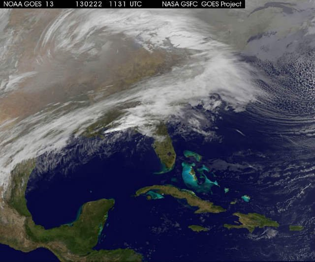 NOAA GOES 13 satellite captures a view of the eastern half of the U.S. on Friday, February 22, 2013 at 6:31AM EST. (NOAA NASA GOES Project)