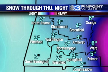 Latest estimated snowfall. (CBS 3 Springfield)