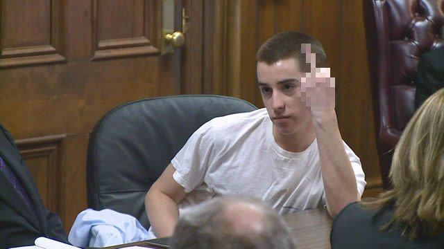 TJ Lane flips middle finger to victim families during sentencing