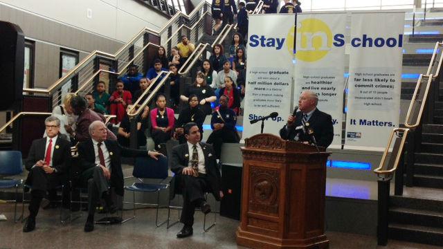 Springfield School Superintendent Daniel Warwick announces the Stay in School initiative.