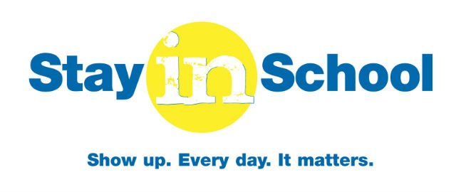 Stay in School campaign logo.
