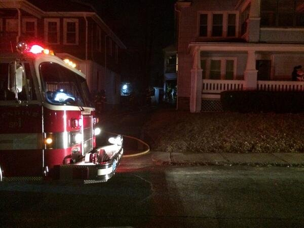 Firefighters respond to 48 Cherry St. for a house fire. Pic courtesy Springfield Fire Dept.