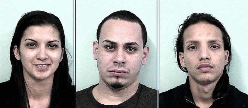 (Left to right). Police charged Eva-Berrios Diaz, 27, and Jose Velasquez, 24, both of 25 Bartlett St. and Jean Rivera, 22, of 4 Armory St..