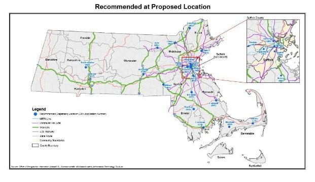 A map of approved medical marijuana dispensaries throughout Massachusetts.