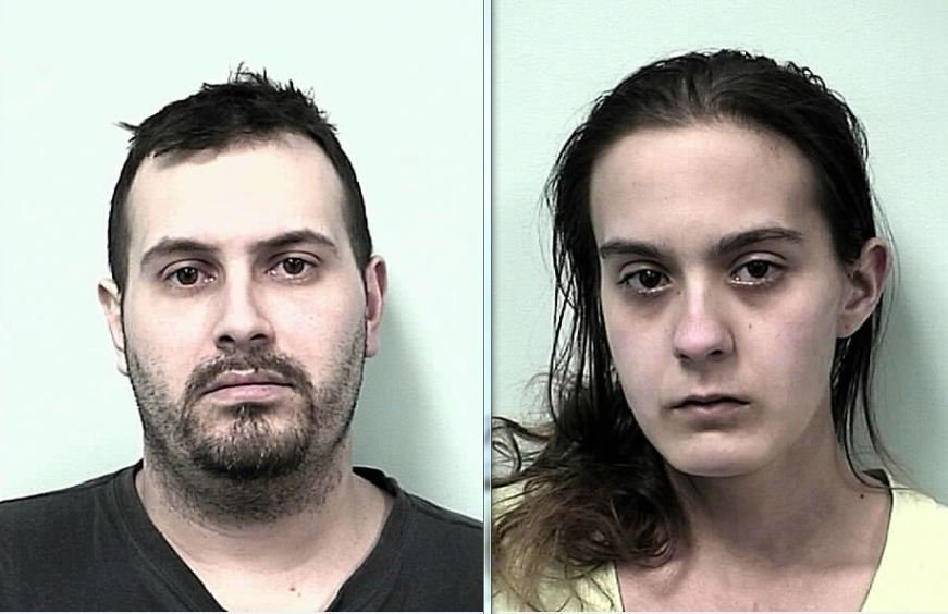 Mug shots of Joshua Larace, 29, and Christina R. Monroe, 21.