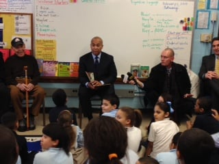 Governor Deval Patrick read to a group of Springfield students Tuesday.