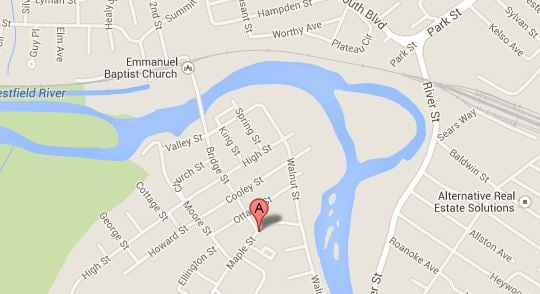 The victim was shot near Maple and Bridge streets in Agawam just after midnight. (Credit: Google)