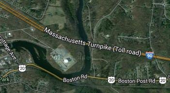 The Mass Pike is closed on the westbound side near the Chicopee River Bridge. (Credit:Google)