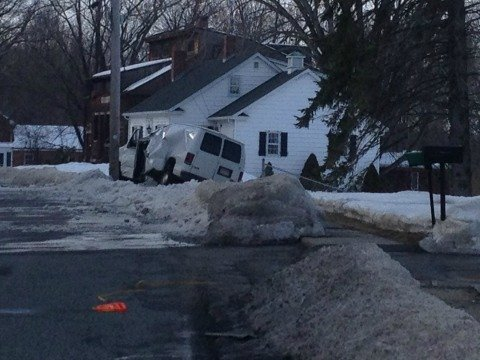 A van crashed into a telephone pole in Easthampton Monday morning.