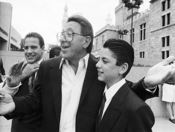 "Adolfo ""Big Al"" Bruno, surrounded by his sons, talks with reporters outside the Hampden County Superior Courthouse after being found not guilty for attempted murder. May 5, 1993 (The Republican)"