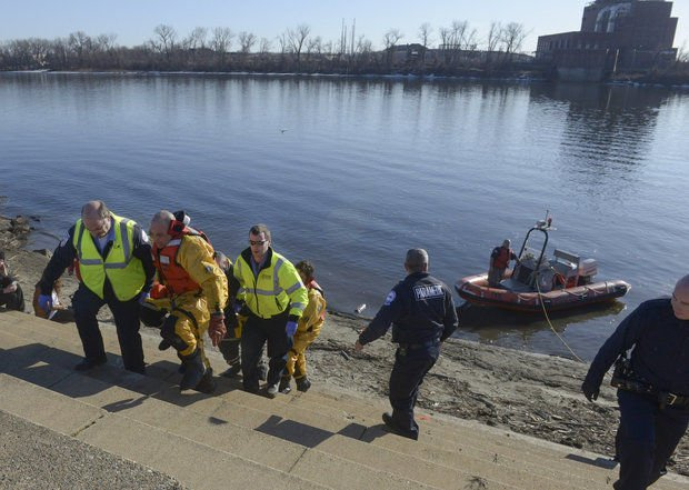 A man was rescued from the Connecticut River after leaping off the Memorial Bridge in Springfield. (Credit: The Republican).