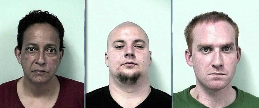 (Right to left) Mug shots of Sandra Soto, Jonathon Hamborg and Curtis Centracchio.