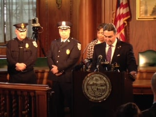Mayor Domenic J. Sarno named John Barbieri as the next Springfield Police Commissioner at Springfield City Hall last month.