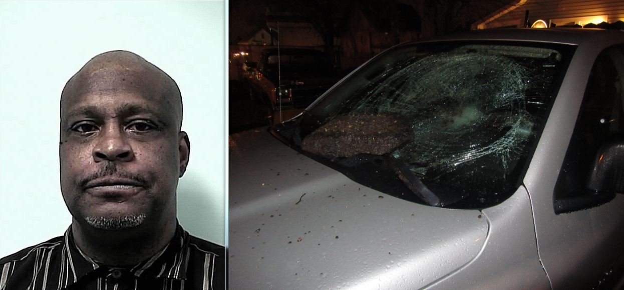 A mug shot of Arthur Robinson and the damage he allegedly caused.
