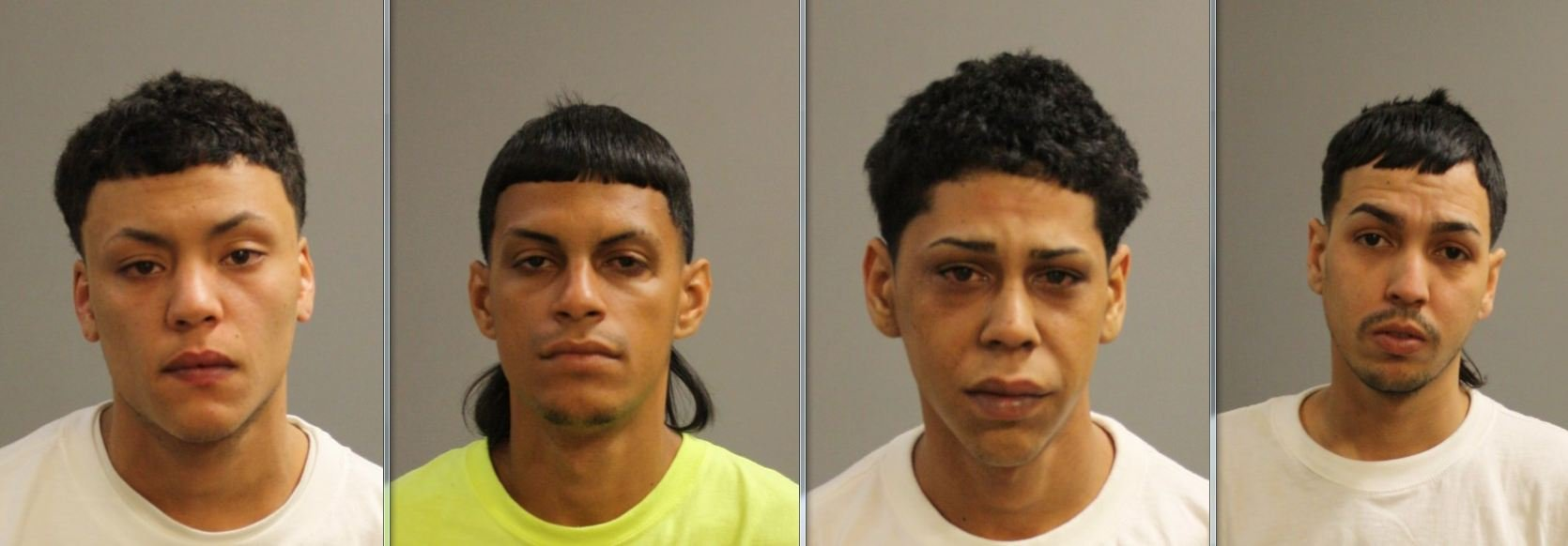 From left to right: Mug shots of Henry Pabon-Santos, 21, Jose Espinoza-Dejesus, 27, Javier Rosado, 23, and Jose Suarez, 28.