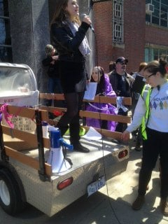 UMass students held a rally in support of lesbian gay rights Wednesday.