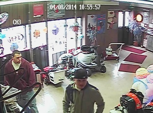 The two men were caught on video surveillance as they attempted to steal a leaf blower.