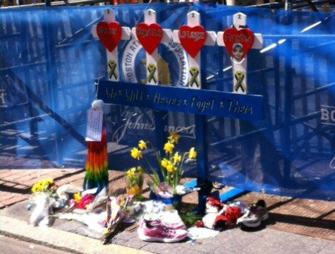 The memorial at the finish line of the Boston Marathon. (Tim Callery)