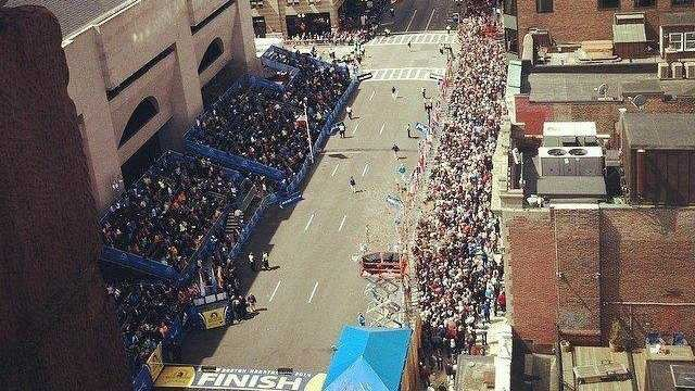 The finish line of the Boston Marathon on Boylston Street.