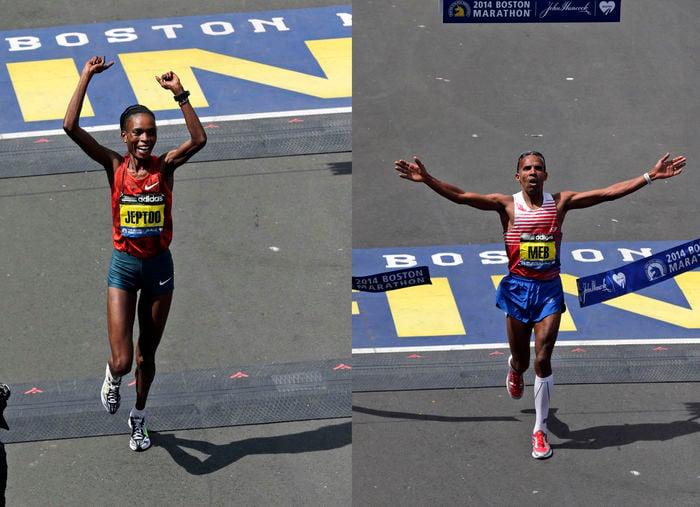 American Meb Keflezighi won the 2014 Boston Marathon men's title. Rita Jeptoo, of Kenya, won the women's title. (AP)
