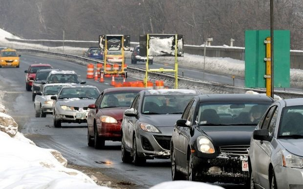 Traffic builds at the Route 5 tunnel in West Springfield as drivers are forced to exit the highway. (MassLive).