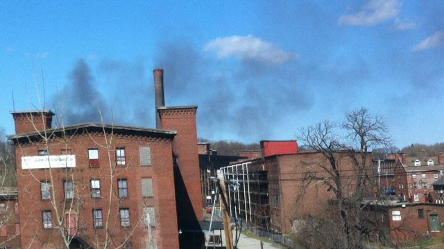 Smoke from the fire could be seen from I-391.