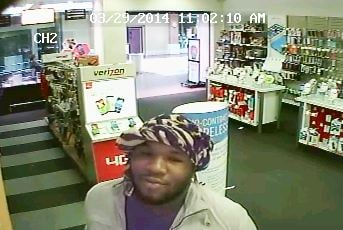 The suspect was caught on store video surveillance while committing the crime.