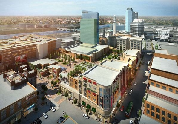 A rendering of MGM's $800 million resort and casino proposal in Springfield's South End neighborhood.
