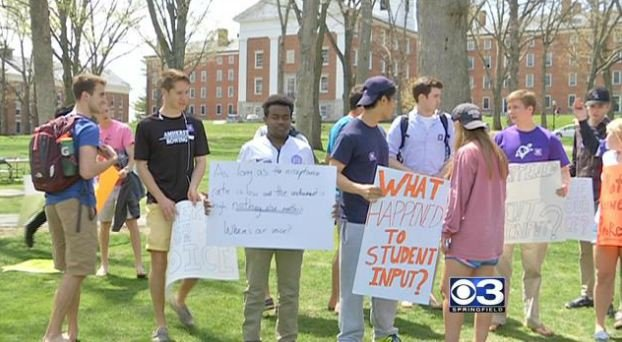 Students protested the decision Thursday afternoon saying they didn't get to voice their own opinions.