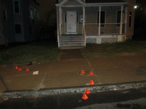Police processed the crime scene in front of 100 Central St. and are following up on leads.