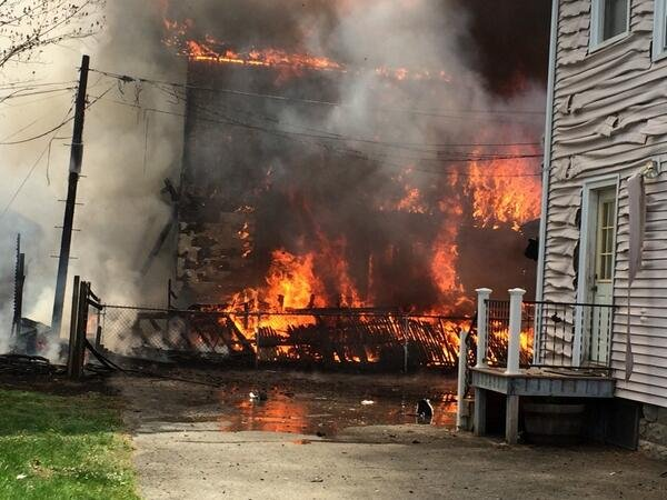 The Wesson Street fire began to spread to other homes shortly before 1 p.m. (Springfield FD)
