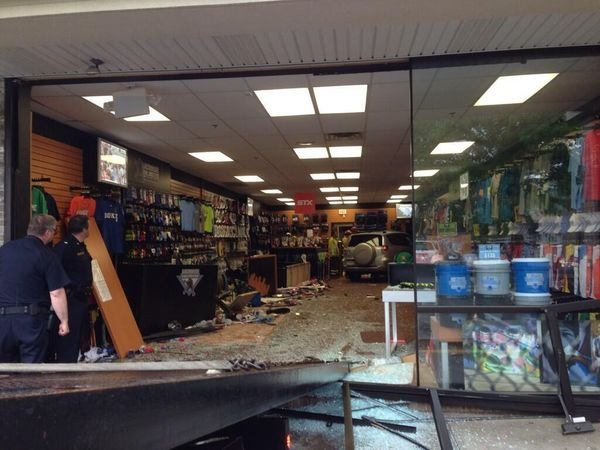 A Toyota Rav 4 crashed through Lacrosse Unlimited in Longmeadow on Thursday afternoon. (MassLive).