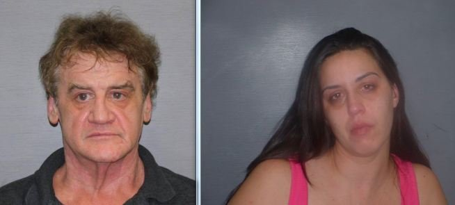 Mug shots of 60-year-old Brian Cummings and 35-year-old Elisa Hache.