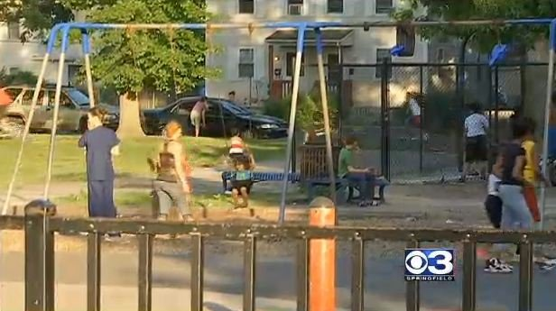 Children playing at Calhoun Park after the shooting.