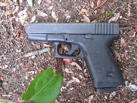 The Glock semi-automatic handgun that Springfield police recovered following a foot chase Wednesday afternoon.