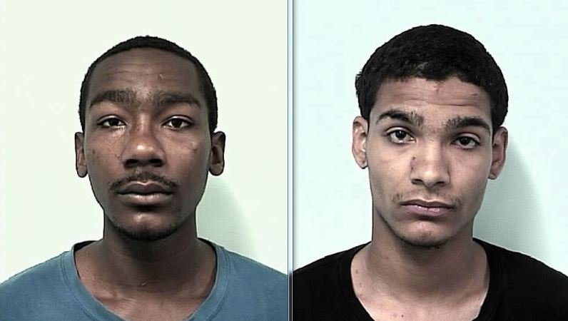 Mug shots of Nicholas Traylor, 18, (left) and Nathaniel Negron, 18.